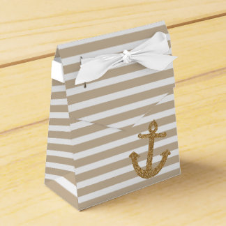 Gold Glitter Nautical Anchor Favour Box