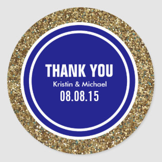 Gold Glitter Navy Blue Custom Thank You Label Classic Round Sticker