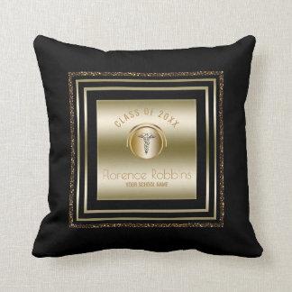 Gold Glitter Nurse Graduation | Caduceus Symbol Cushion