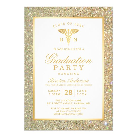Gold Glitter Nursing School Graduation Party Card