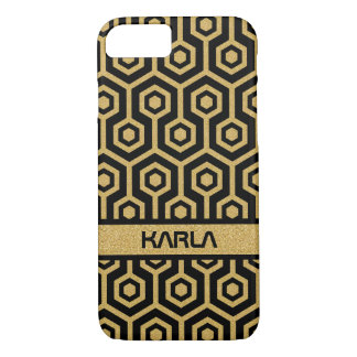Gold Glitter Octagon Pattern Black Background iPhone 7 Case