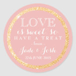 Gold Glitter on ANY COLOR Wedding Favour Label Round Sticker