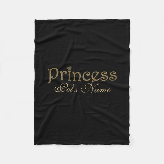 Gold Glitter on Black Personalised Princess Pet Fleece