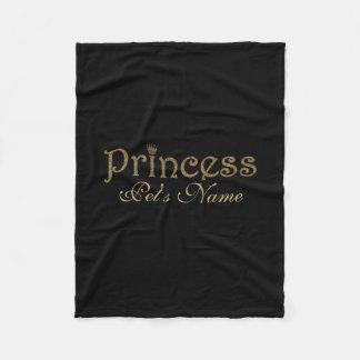 Gold Glitter on Black Personalized Princess Pet Fleece Blanket