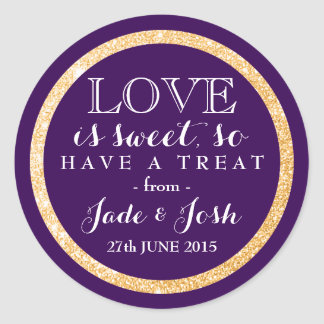 Gold Glitter on Plum Purple Wedding Favor Label Round Sticker