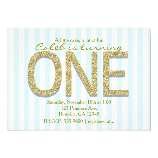 GOLD GLITTER ONE Blue Stripe 1st Party Invitations