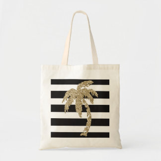 Gold Glitter Palm Tree Black White Stripe Tote Bag
