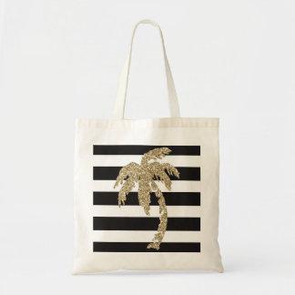 Gold Glitter Palm Tree Black White Stripe Tote Bag