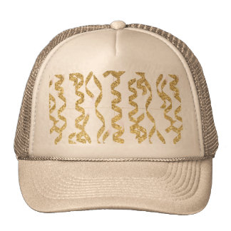 Gold Glitter Party Streamers on White Background Trucker Hats