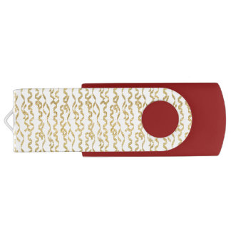 Gold Glitter Party Streamers on White Background Swivel USB 2.0 Flash Drive
