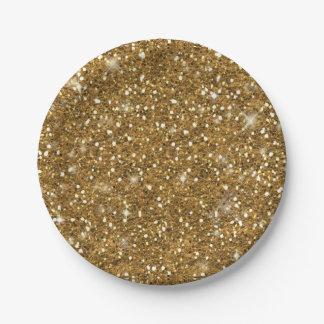 Gold Glitter Pattern ID144 Paper Plate