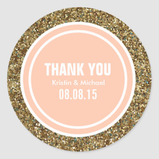 Gold Glitter Peach Custom Thank You Label Round Sticker