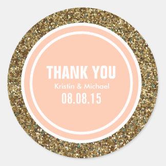 Gold Glitter Peach Custom Thank You Label Round Sticker