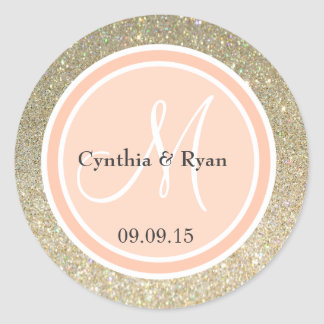 Gold Glitter & Peach Wedding Monogram Classic Round Sticker