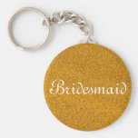 Gold Glitter Personalised Bridesmaid Basic Round Button Key Ring