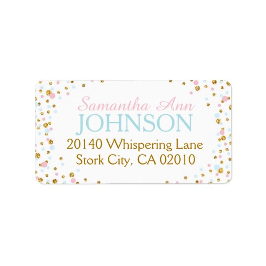 Gold Glitter Pink Blue Twin Sprinkles Label