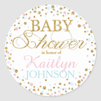 Gold Glitter Pink Blue Twins Baby Shower Label
