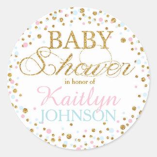 Gold Glitter Pink Blue Twins Baby Shower Label Round Sticker