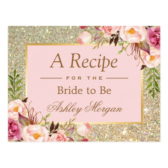 Gold Glitter Pink Floral Bridal Shower Recipe Card