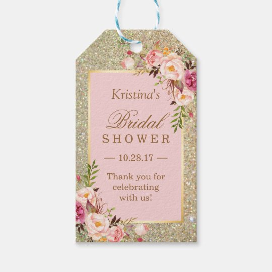 Wedding Thankyou Gifts: Gold Glitter Pink Floral Bridal Shower Thank You Gift Tags