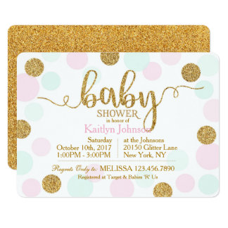 Gold Glitter Pink Seafoam Dots Baby Shower Card
