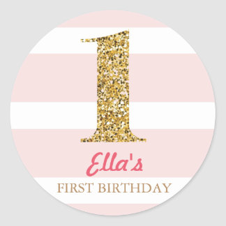 Gold Glitter & Pink Stripe First Birthday Stickers