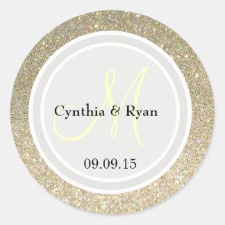 Gold Glitter & Platinum Wedding Monogram Label