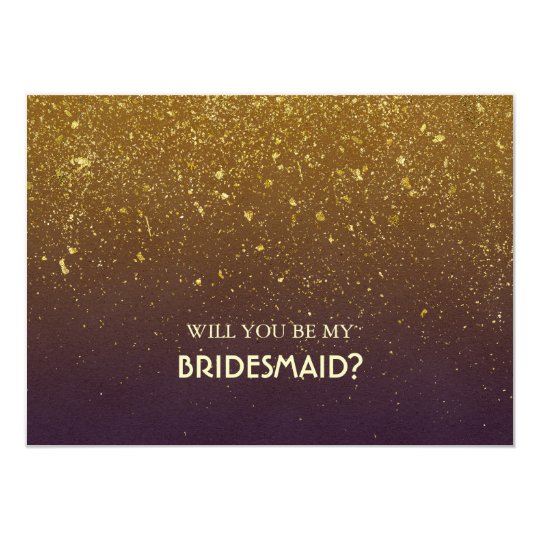 Gold Glitter Plum Vintage Wedding Bridesmaid Card