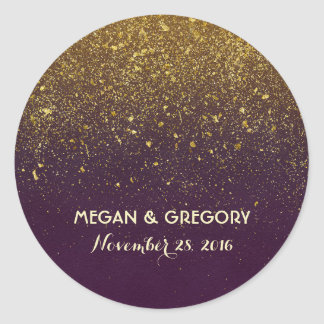 Gold Glitter Plum Vintage Wedding Classic Round Sticker