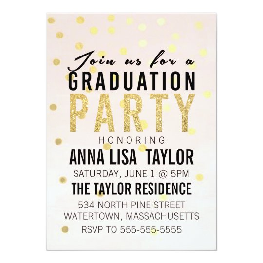 Gold Glitter Polka Dot Graduation Party Invitation