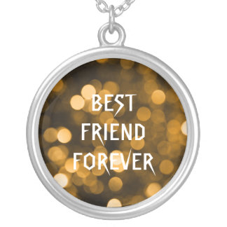 Gold Glitter Polka Dots Best Friends Forever Round Pendant Necklace