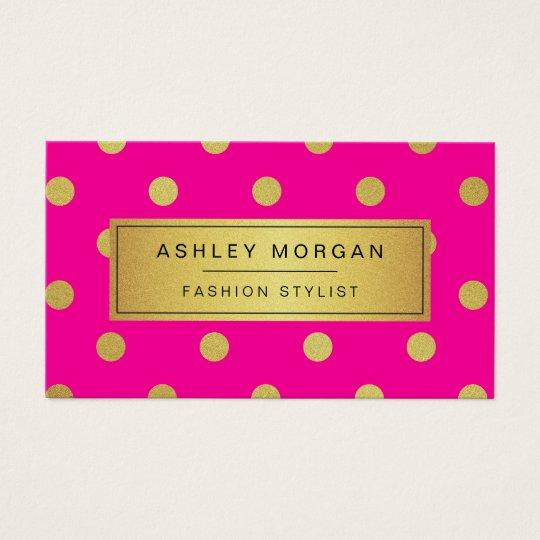 Gold Glitter Polka Dots - Stylish Beauty Pink