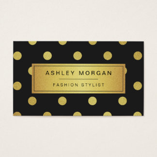 Gold Glitter Polka Dots - Trendy Black White