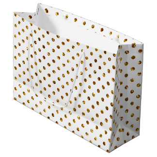 Gold Glitter Polka Dots White Large Gift Bag