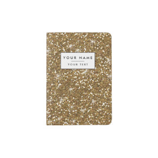 Gold Glitter Printed Passport Holder