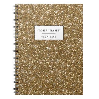 Gold Glitter Printed Spiral Note Books