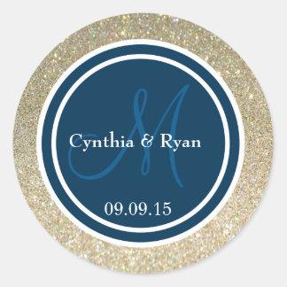 Gold Glitter & Prussian Blue Wedding Monogram Seal Round Sticker
