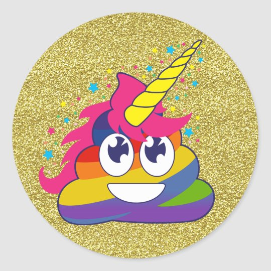 Gold Glitter Rainbow Poop Unicorn Emoji Stickers