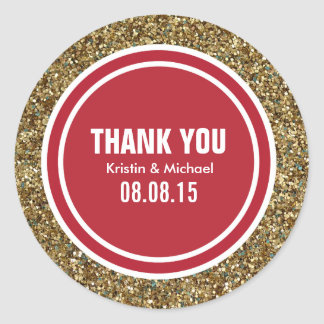 Gold Glitter Red Custom Thank You Label Round Sticker