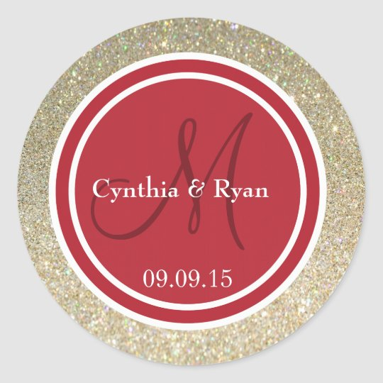 Gold Glitter & Red Wedding Monogram Classic Round