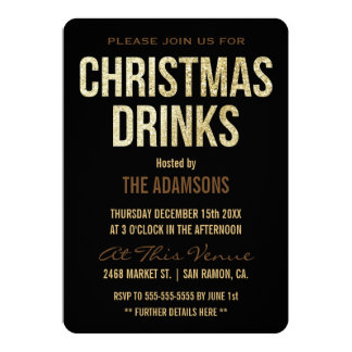 Gold Glitter Reindeer Christmas Drinks 13 Cm X 18 Cm Invitation Card