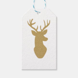 Gold glitter reindeer gift tags