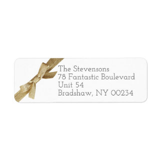 Gold Glitter Ribbon Bow Family Return Address