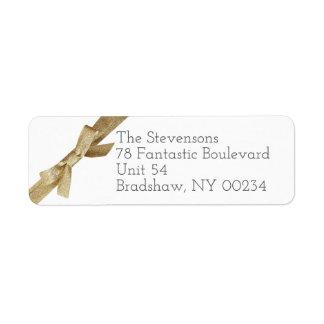 Gold Glitter Ribbon Bow Family Return Address Return Address Label