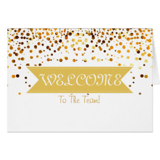 Gold Glitter Ribbon with White Border  Welcome Card