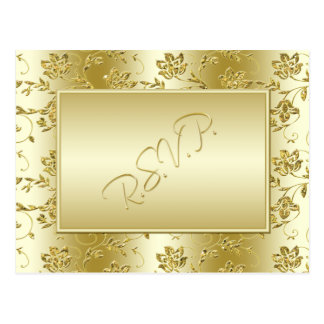 Gold Glitter RSVP Postcard (Will NOT fit with Sq.)