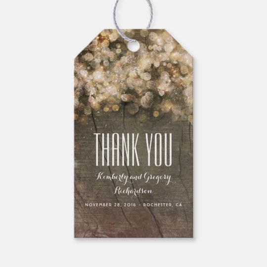 Gold Glitter Rustic Wedding Gift Tags