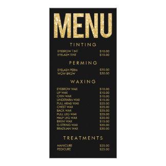 Gold Glitter Salon Beautician Menu Price List Rack Card Template