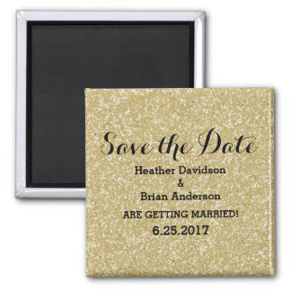 Gold Glitter Save the Date Magnet