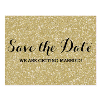 Gold Glitter Save the Date Postcard